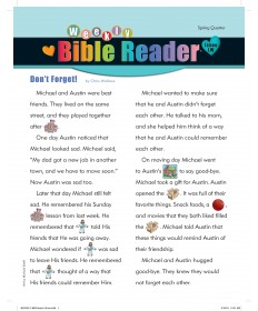 Weekly Bible Reader (take-home paper) / Spring