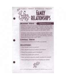Girls Only Journal Page Units. Family Relationships