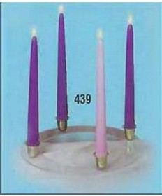 "Advent Wreath-w/Gold Finish Ring & Greens-10"" Tapers (3 Purple & 1 Pink)"